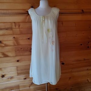 Vintage Pale Yellow & Floral Nylon Nightgown